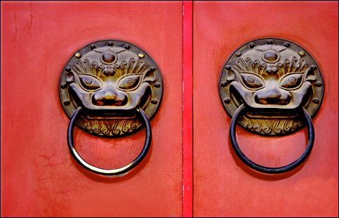 Typical door of Chinese Palace, the forbidden city, Beijing