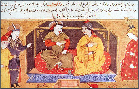 Hulegu and Dokuz Khatun, detail from an illustration to the Collection (of Chronicles  of Rashid al-Din d. 1318).